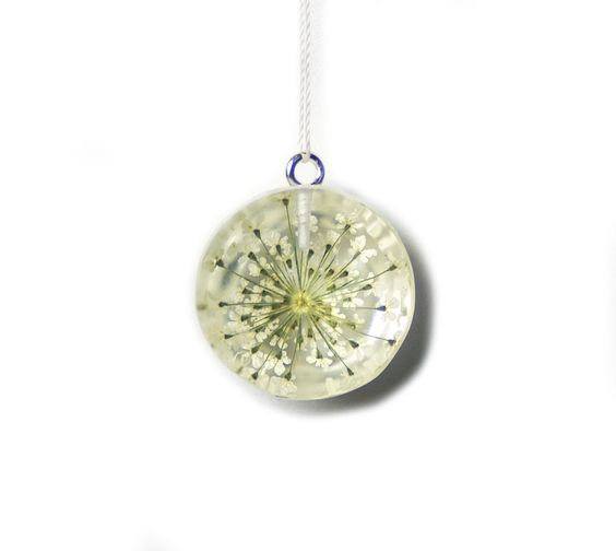 Pressed Lace Flower Resin Pendant