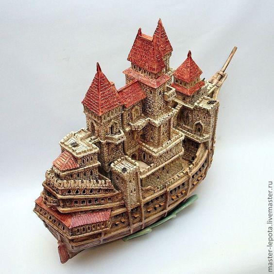 """Купить Крепость - фрегат  """"Una Fortaleza"""". Керамический ночник. - коричневый, замок, крепость, средневековье, корабль"""