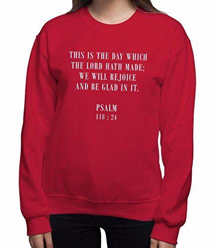 Women's Christmas Jumper Crew Neck Psalm 118:24 Christian…