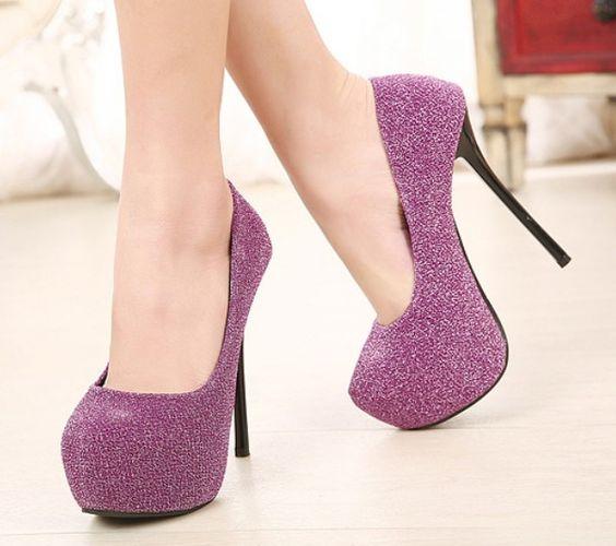 Purple Round Toe High Heel Platform   Platform Pumps High Heels