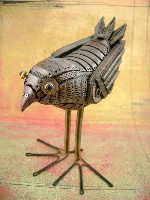 Mechanical Birdie - Fully Customizable - Freestanding Industrial Steampunk Bird Sculpture. $159.00, via Etsy.
