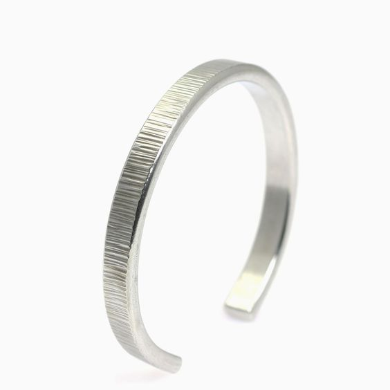 New! Gorgeous 7mm Thin Chased Aluminum Cuff Bracelet Showcased on #AmazonHandmade #Silver http://www.amazon.com/dp/B01AIOKFSO