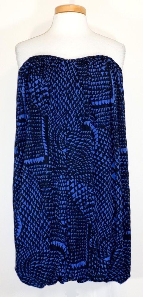 BCBG Max Azria Womens Dress Strapless Bubble Hem Jersey Knit Blue Black L NEW  #BCBGMAXAZRIA #Bubble #Clubwear
