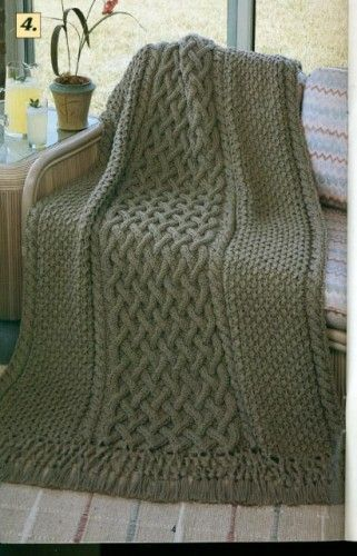 Knit Cable Afghan Pattern : Knit Crochet Afghan Patterns Reversible Plaid Cables n Lattice & more I...