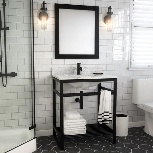 Spa Bathe Metalim 30 In Matte Black Drop In Single Sink Bathroom Vanity With White Ceramic Top Lowes Com Single Sink Bathroom Vanity Bathroom Sink Vanity Black Bathroom Sink