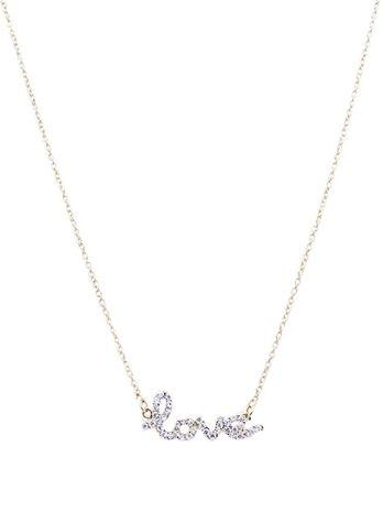 Cursive Rhinestone Love Necklace