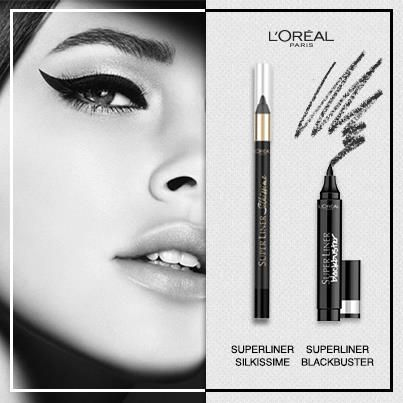 Super Liner Blackbuster eyeliner and Super Liner Silkissime eyeliner pencil.  L'Oreal Super Liner Blackbuster eyeliner is an intense black is an extra thick graphic eyeliner, with a black pigment that lasts for 8 hours. Inspired to re-create a 60′s ...