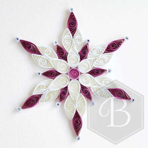 Holiday snowflake ornament quilled snowflake christmas for Decoration quilling