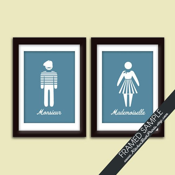 Mademoiselle and Monsieur Bathroom Prints - Set of 2 - 5x7 Art Print (Featured in Newport with White) Customizable Bathroom Prints on Etsy, $21.90