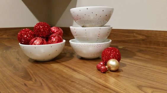 Hey, I found this really awesome Etsy listing at https://www.etsy.com/listing/213851884/white-and-gold-polka-dot-bowl-with-gold
