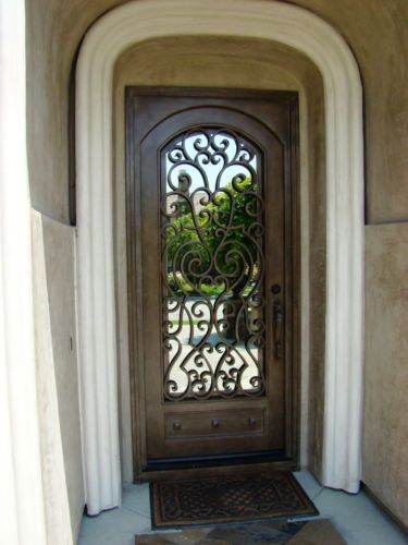 Details about wrought iron entry doors single door for Wrought iron front doors