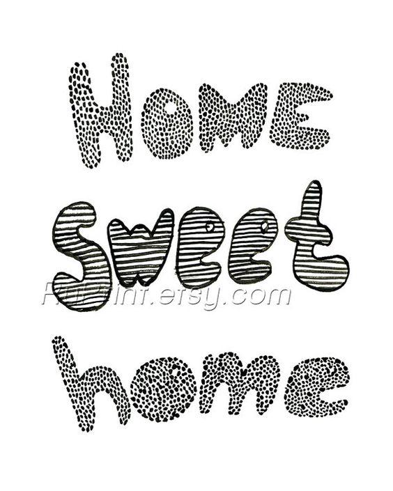 Home sweet home Printable wall citaat poster Hand door ruPrint