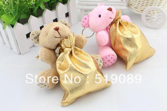 Atacado 100pcs / lot doces do casamento do urso de peluche do luxuoso Pingente ursinho de pelúcia para chaveiro / presentes de casamento / B...