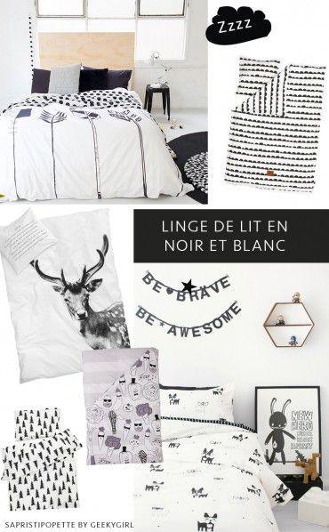 du linge de lit graphique en noir et blanc pour petits dandy pour une petite chambre en noir et. Black Bedroom Furniture Sets. Home Design Ideas