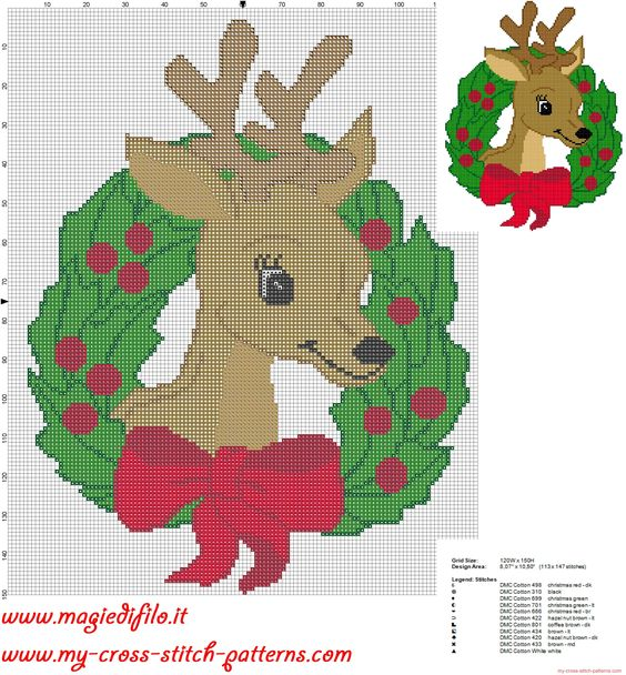 cross stitch pattern garland christmas reindeer: