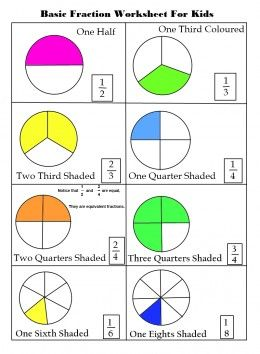 math worksheet : basic fractions worksheets for elementary kids  math  pinterest  : Basic Math Fractions Worksheets