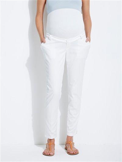 Pantalón algodón-lino tobillero entrep. 77 cm de embarazo BLANCO CLARO LISO+NEGRO OSCURO LISO