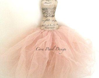 Fairytale Cinderella Paper Dress, Pfirsich Tüll Paper Dress - Hochzeits Favor - Braut Kleid - Ballerina Kleid Hochzeitsgeschenk - Ballett Dekoration