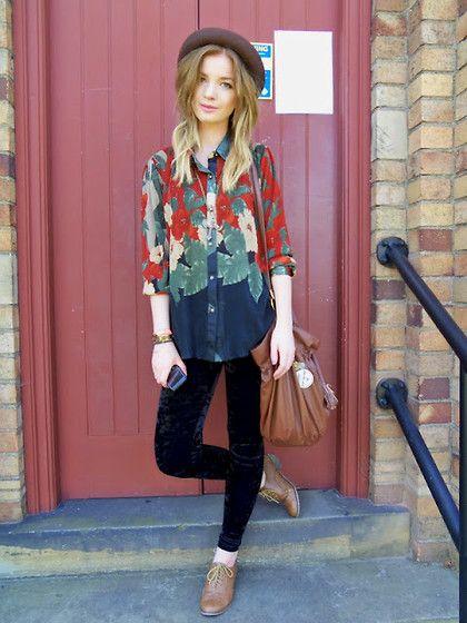 Foxintheflowers Floral Shirt, Velvet Leggings: