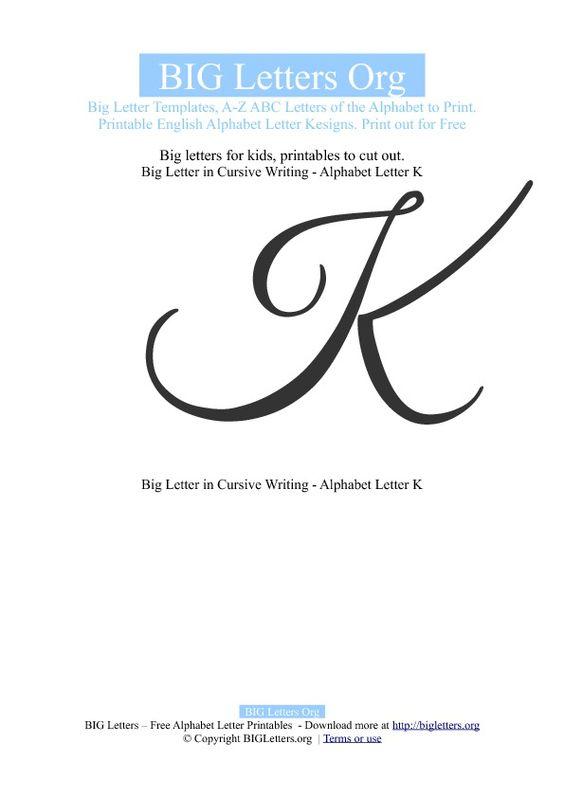"""cursive """"k""""   Printable Big Letter K Templates   Big Letters Org ..."""