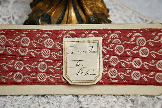 Vintage French woven trim terracotta ivory French by LaCroixRosion
