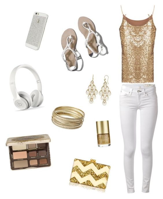 """Gold Beauty"" by paris1188 ❤ liked on Polyvore featuring rag & bone, Edie Parker, Abercrombie & Fitch, CO, Roberto Coin, Steve Madden, Too Faced Cosmetics, Accessorize, women's clothing and women"