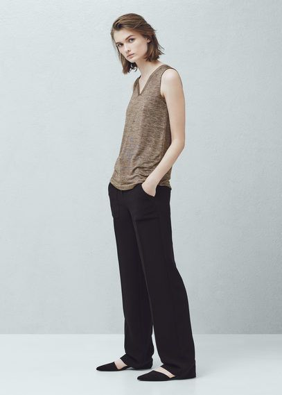 Flecked knit top | MANGO