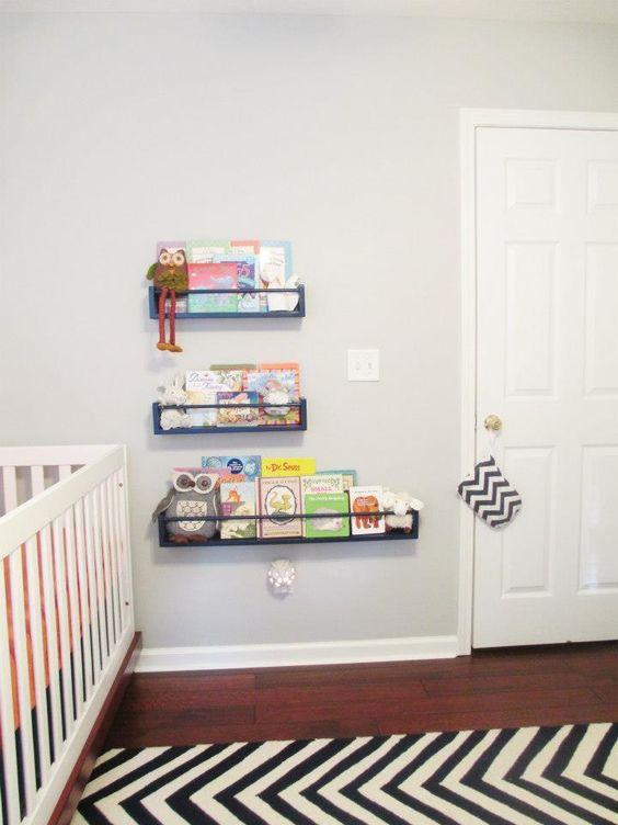 DIY Spice Rack Bookshelves - #nursery #DIY: Book Display, Ikea Bookshelves, Spice Rack Bookshelves, Bookshelves Nursery, Ikea Spice Rack