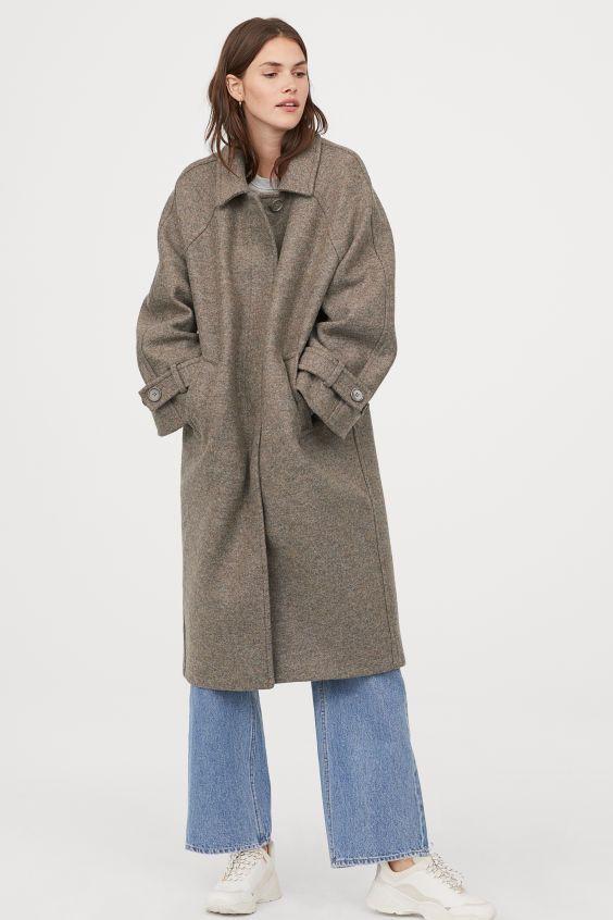 Шерстяное пальто - Серый меланж - Женщины | H&M RU 1