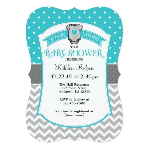 Turquoise Gray Polkadot Chevron Baby Shower Invite