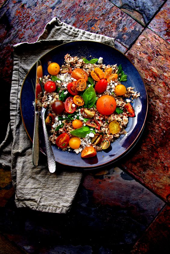 Heirloom Tomato Salad with Wild Brown Rice and Quinoa
