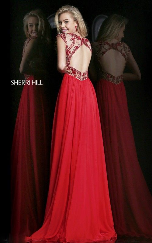 2015 Sherri Hill Red Prom Dress Open-Back 21321