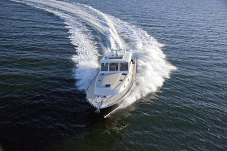 Sabre 48 Salon Express carving a turn on Casco Bay