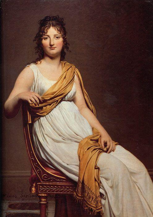 Jacques -Louis David Paintings-Portrait of Henriette de Verninac, 1799: