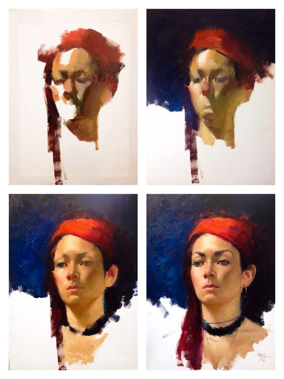 Alla prima portrait painting by Zimou Tan.