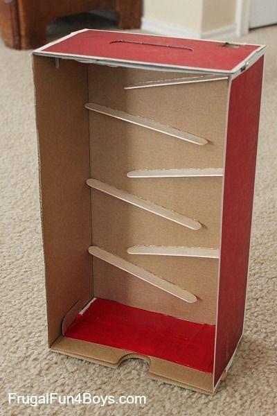 Construir una canica correr con palitos de madera