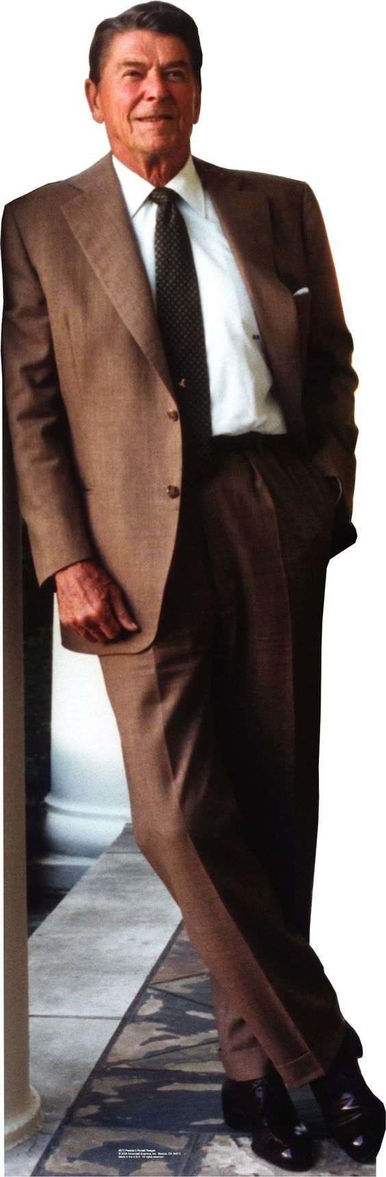 Patriotism and Politics President Ronald Reagan in Suit Cardboard