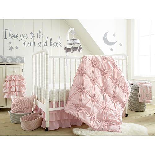 """Babies R Us Exclusive. The Willow Pink Nursery Collection. Additional accessories sold separately.<br><br>The Levtex Baby Willow 5-Piece Crib Bedding Set - Pink Features:<br><ul><li>The 5 Piece Crib Bedding Set includes a Quilt, 100% Cotton Crib Fitted Sheet, 3-tiered Dust Ruffle, Diaper Stacker and metallic silver Wall Decals with the phrase """"I love you to the moon and back"""" featuring a crescent moon and stars.</li><br><li>Features soft brushed fabric with a lofty ruche design carried…"""