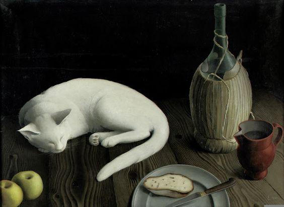 Still life with cat, 1935, Ernst Maass. (1904 - 1971):