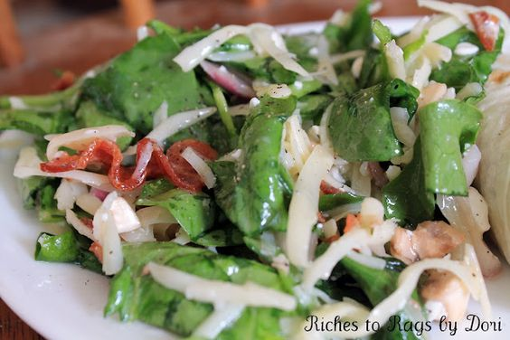 """""""That Salad"""" by Marianne Warner. The most amazing Spinach Salad recipe. I also used the salad and turned it into a Spinach Salad Wrap with flour tortillas. I promise you will love it."""