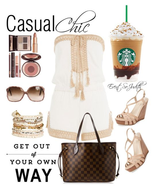 """Casual Chic"" by judith-events-blogger-diy-host on Polyvore featuring Charlotte Tilbury, Panacea, Anna Kosturova, Seychelles and Louis Vuitton"