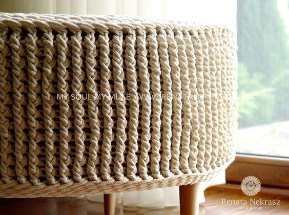 Handmade crochet pouf model PARIS renatanekrasz.com