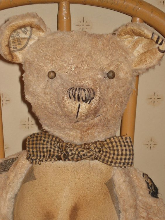Pappa  Primitive Handmade Teddy Bear  Grain by aprimitiveplace, SOLD