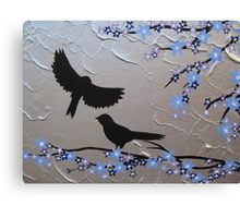 birds with blue, purple and silver blossom- zen feel Canvas Print