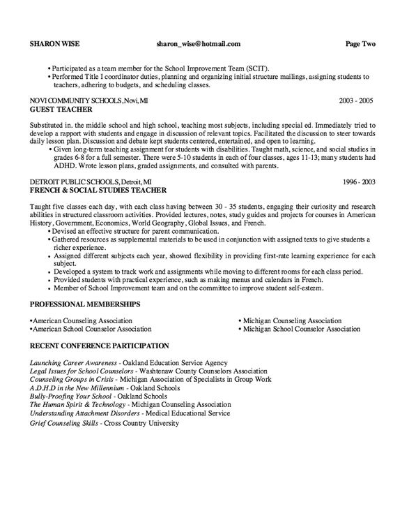 School Guidance Counselor Resume Sample - http\/\/resumesdesign - career counselor resume