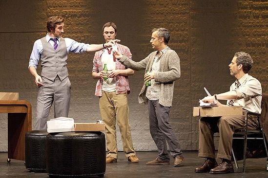 Lee Pace as Bruce Niles, Jim Parsons as Tommy Boatwright, Joe Mantello as Ned Weeks and Patrick Breen as Mickey Marcus - THE NORMAL HEART by Larry Kramer at the Golden Theatre in Broadway, 2011.
