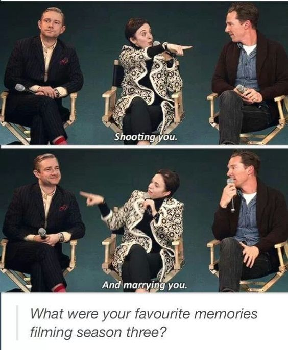 Sherlock =) martins face in the second one is so adorable<<Because they got to be married a second time and it was adorable.