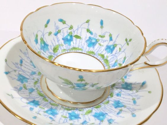 Harebell Coalport Tea Cup and Saucer, Hand Painted Tea Cups, Tea Set, English Bone China Cups, Antique Teacups, Vintage Tea Party