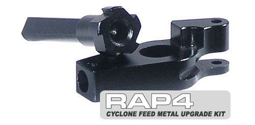 Cyclone Feed Metal Upgrade Kit for Tippmann 98 A-5 and X7 - paintball gun accessory by Rap4. $29.95. Tippmann Cyclone Feed Metal Upgrade Kit is Teflon coated aluminum internals that replaces the stock plastic internals of the Tippmann Cyclone feed. This upgrade kit provide the higher performing internals for the cyclone feed to allow the loader to keep up with the marker when shooting full auto. The upgrade kit is designed for faster smoother and more durable parts needed for f...