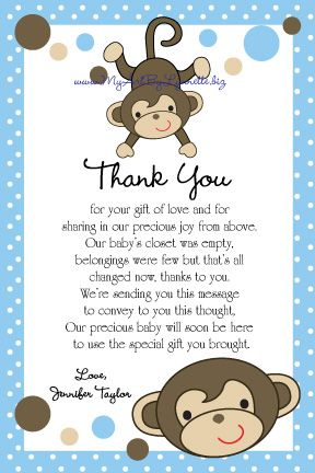 Monkey Kids Jungle Art Birthday Shower Card Baby Shower Thank - baby shower thank you notes